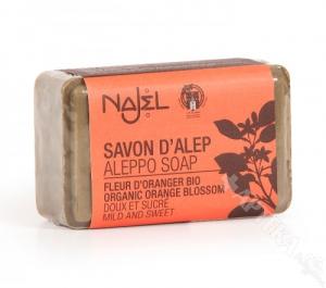 NAJEL, Mydło Aleppo 12% z wodą z kwiatu pomarańczy, 100g