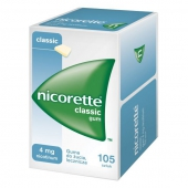 Nicorette Classic, guma do żucia lecznicza, 4mg, 105 sztuk