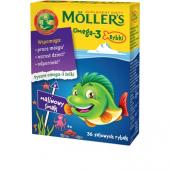 Mollers Omega-3 Rybki, smak malinowy, 36 sztuk