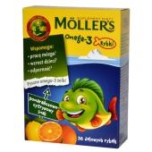 Mollers Omega-3 Rybki, smak pomarańczowo-cytrynowy, 36 sztuk
