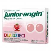 Junior-angin, smak truskawkowy, 24 tabletki do ssania